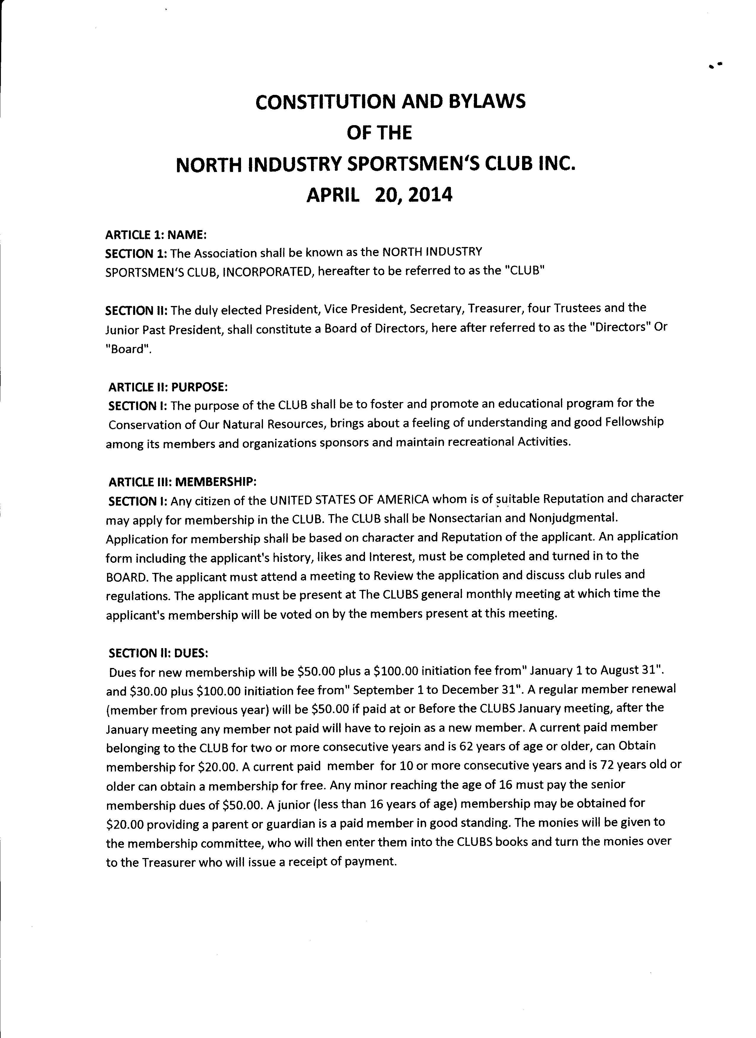Constitution and bylaws north industry sportsmen 39 s club for Constitution and bylaws template